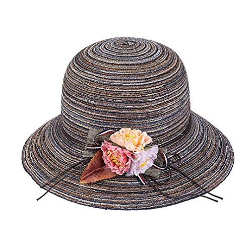 Orita New Women's Large Big Brim Anti-UV Beach Hat Foldable Summer Wide Brim Sunscreen UV Protection Visor Cap Sun Hat Coffee