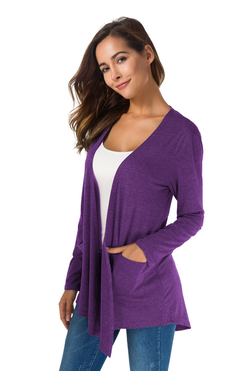 TownCat Women's Loose Casual Long Sleeved Open Front Breathable Cardigans with Pocket (Purple1, L) by TownCat (Image #3)