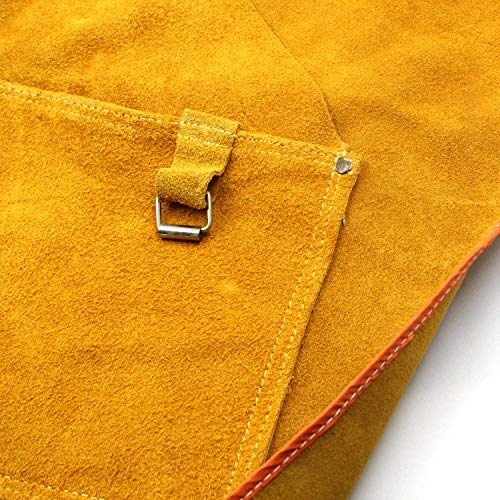 Leather Welding Apron Flame-Resistant Heat Resistant Work Apron Fire Resistant Welding/Welder Smock, 24 x 36 Inch, 6 Pockets by Handook (Image #5)