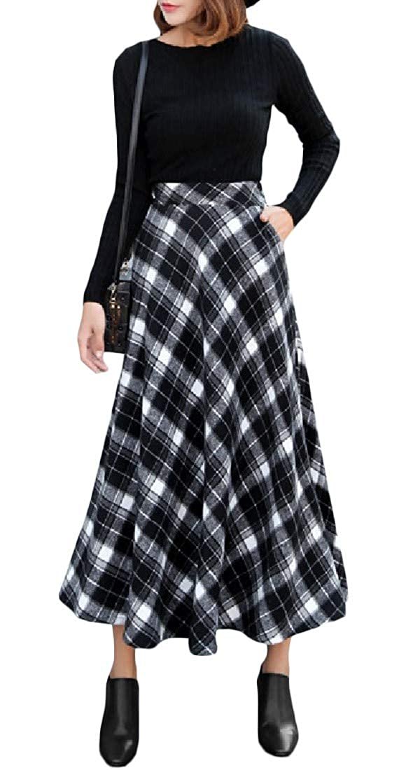 d670b2007e YUNY Women's Mid-Long Wool-Blend Fall Midi Winter Vintage High Waist Plaid  Long Pencil Skirt at Amazon Women's Clothing store: