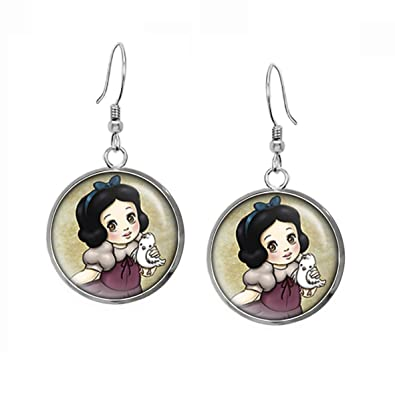 26fcb4d99 Amazon.com: Young Snow White Earrings, Disney Princess Snow White Pendant,  Child Prince Charming Necklace, Disney's Princesses Kids Jewelry Set, ...