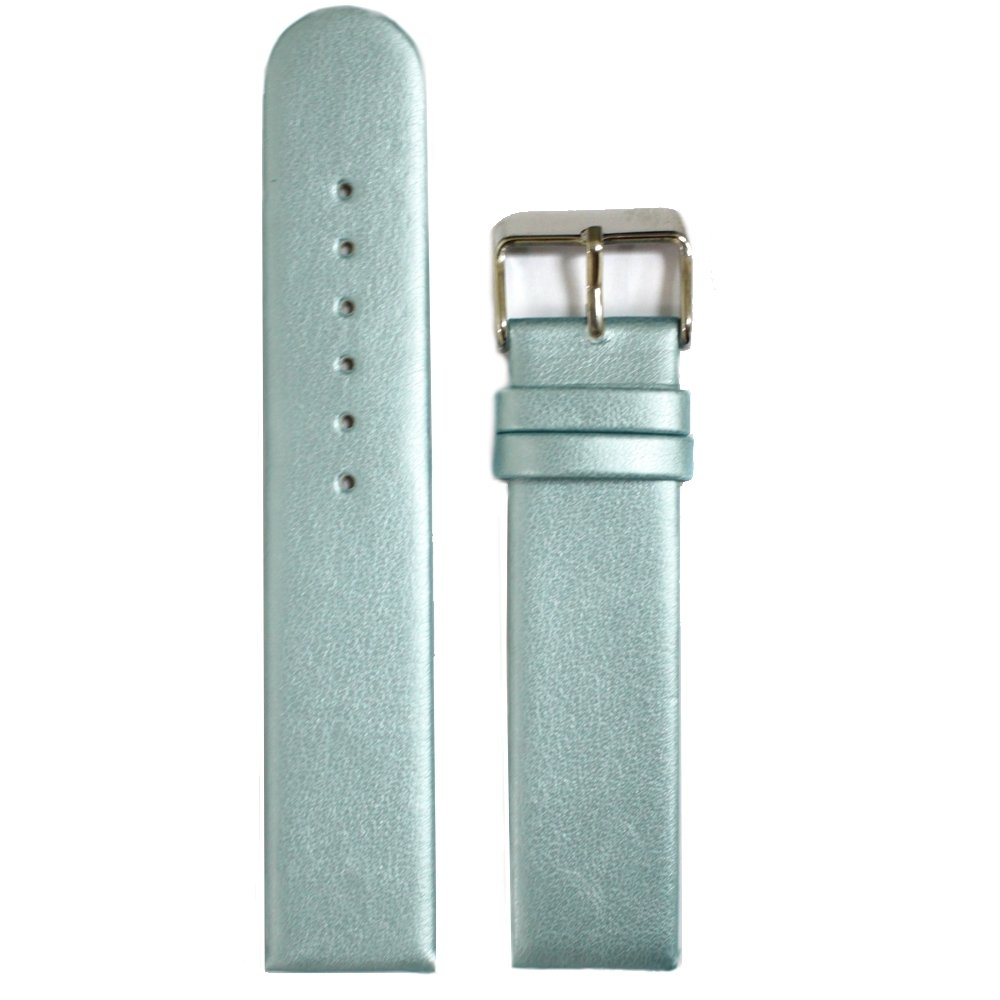 Alexis 20mm Top Light Blue Color Faux Leather Ladies Men Watch Band Straps 1083C