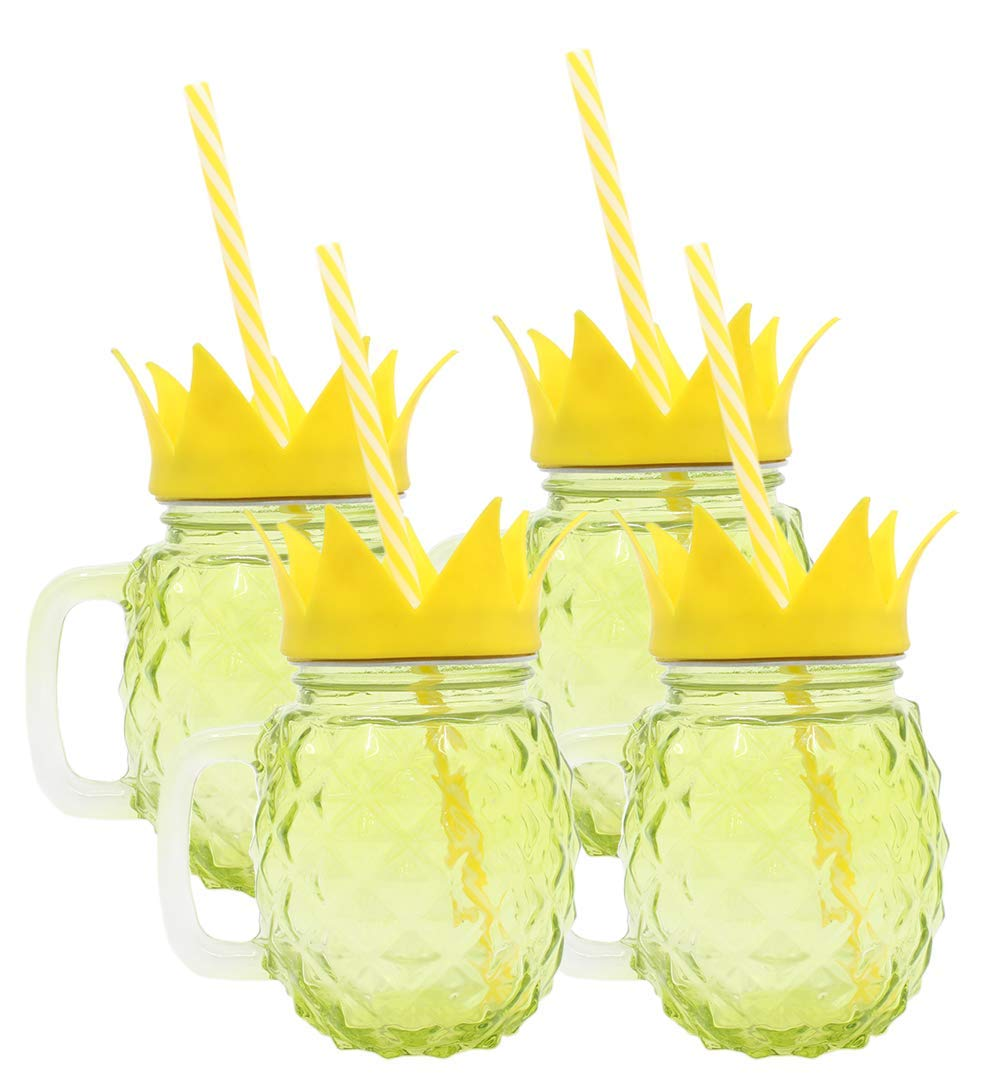 Pineapple Fun Drinking Glass Jar Mug Cup with Straw | Great for Pool Parties, Outdoor Sports Events, Spring & Summer, and More! (4 pack, Yellow)