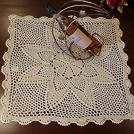 Hoomy Handmade Crochet Centrini Beige Pizzo Tovaglia In Puro Cotone All Uncinetto Centrino Copertura Per Tavolo Quadrato Da Tavolo Per Comodino 49 8 Cm Amazon It Casa E Cucina