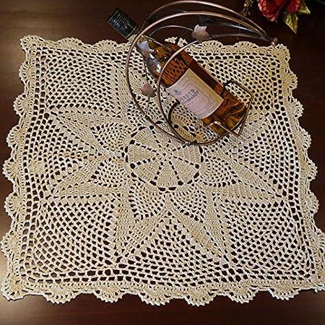 Hoomy Handmade Crochet Centrini Beige Pizzo Tovaglia In Puro Cotone