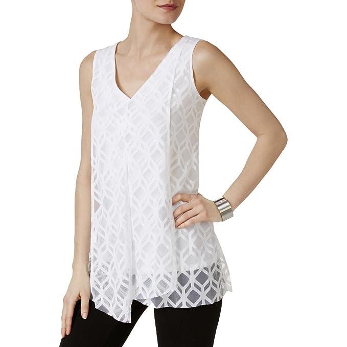0fc49eb35781e Alfani Womens Mesh Illusion Blouse B W XL at Amazon Women s Clothing ...
