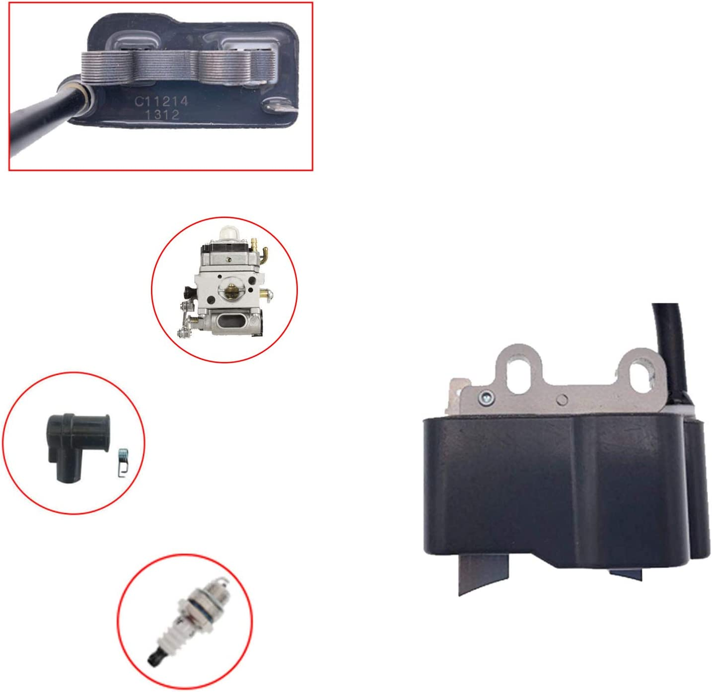 PARTSRUN PB500 Carburetor Ignition Coil for Echo PB500 PB500T PB500H EB508RT Backpack Blower Carb A021001641 A021001642 WLA-1 Ignition Coil A411000420 ID#C11214 with BM6A Spark Plug,ZF276-KIT