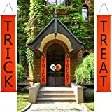Sunyhere Halloween Decorations, Trick Treat Banner Balloon Door/Fireplace Decor,Halloween Hanging Sign Home Office Porch Front Door Halloween Decorations