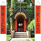 Sunyhere Halloween Decorations, Trick Treat Banner Balloon Door/Fireplace Decor,Halloween Hanging Sign Home Office Porch Front Door Halloween Decorations
