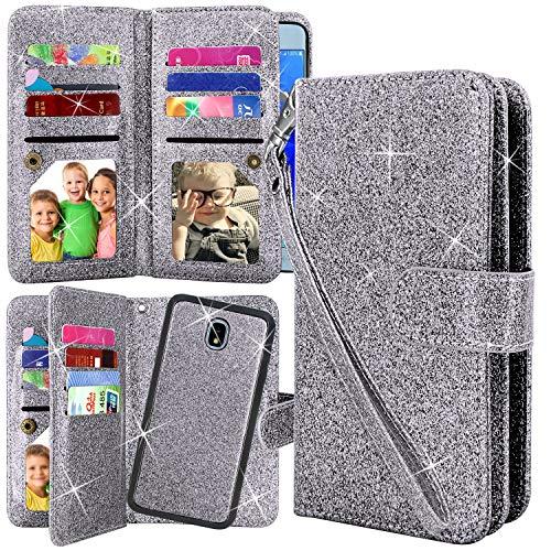 Galaxy J7 2018/J7 Aero/J7 Top/J7 Refine/J7 Eon/J7 Star/J7 Crown/J7 Aura Case, Harryshell Luxury 12 Card Slots Detachable Magnetic Wallet Shockproof PU Leather Flip Case Cover (Glitter Grey)