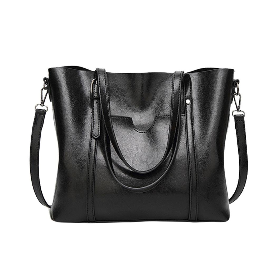 Women Crossbody Bag Shoulder Bag Tote Bucket Bag Messenger Bag Casual Zipper Bag Shopping Bag Faionny (Black)