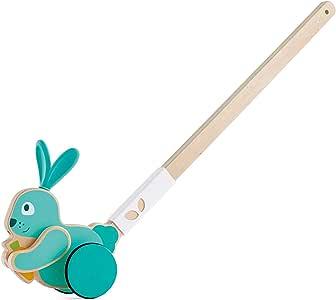 Hape Bunny Push Pal | Wooden Push-Along Bunny, Baby Walker Push Toy, Multicolor (E0358)