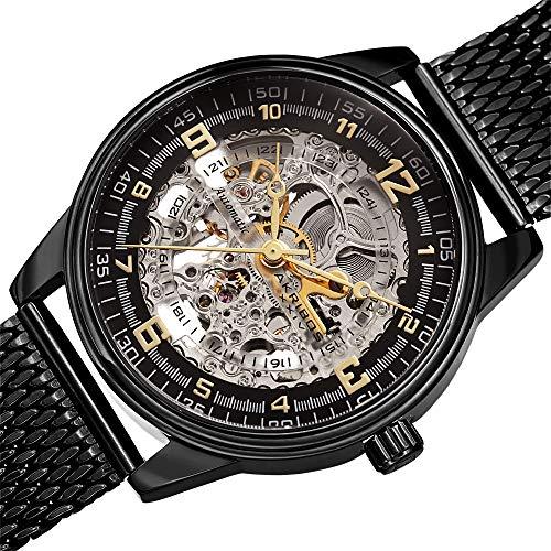 Bracelet Dial Round Black Watch - Akribos Automatic Skeleton Mechanical Men's Watch - Luxury Professional Mesh Bracelet See Through Dial - IP Case with A Skeletonized Dial - AK1074BK (Black On Black Band)
