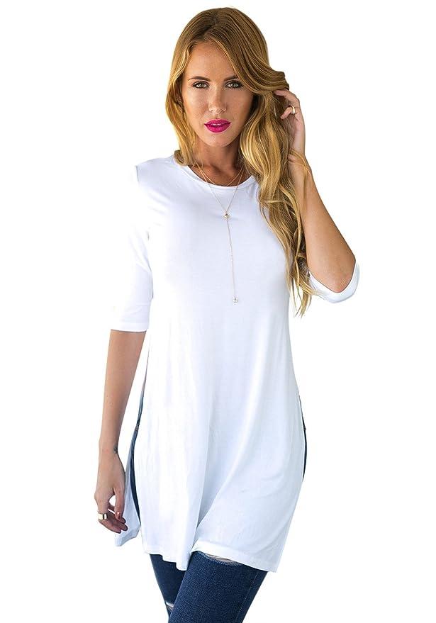 LookbookStore - Haut Long - T-Shirt - Manches 3 4 - Blanc - COTE Fendu -  Uni - Femme - EU 40  Amazon.fr  Vêtements et accessoires 0e67c33a5086