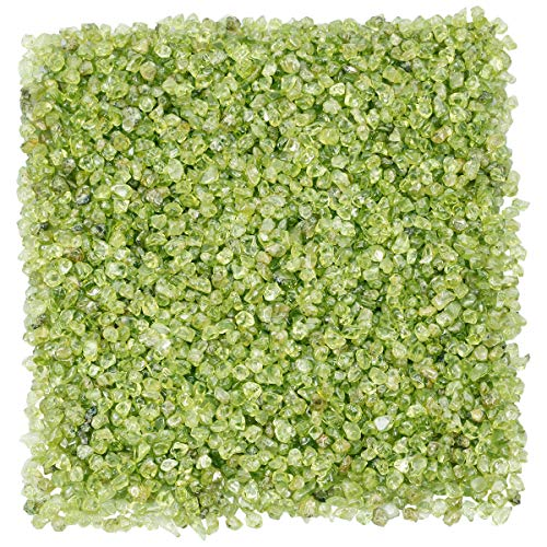 TUMBEELLUWA 1LB Chips Tumbled Stones Crushed Reiki Irregular Shaped Healing Crystal Quartz Decoration,Peridot