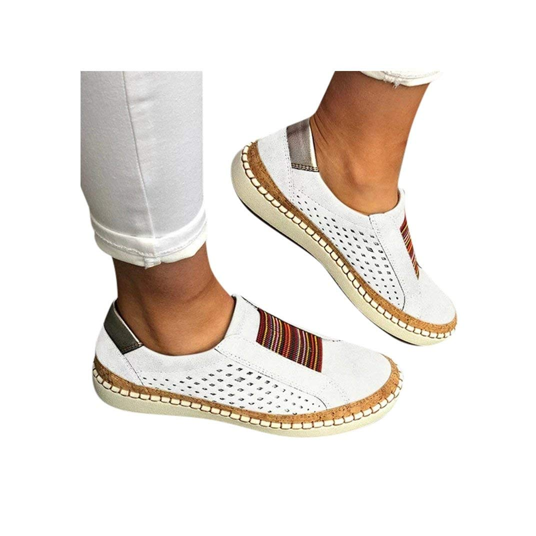 Women's Casual Shoes Slip On Outdoor Sneakers Fashion Comfy Flat Shoes Hollow-Out Round Toe Board Shoes White