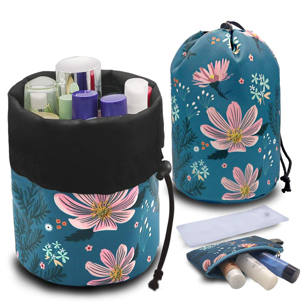 UYRIE Portable Makeup Toiletry Cosmetic Travel Organizer Bag, Large Drawstring Hanging Packing Bag for Women Girl Men, Lightweight Multifunctional Barrel Shaped Storage Bag (Pink Flower)