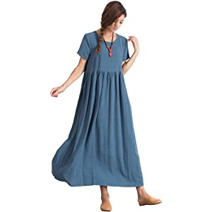 3f4c21aec0 Sellse Women s Linen Loose Summer Casual Large Size Long Dress Cotton  Clothing