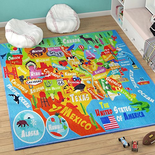 "61dOK302EOL - KC CUBS KCP010023-8X10 Playtime Collection USA United States Map Educational Learning and Game Area Rug Carpet for Kids and Children Bedrooms and Playroom (8'2"" x 9'10"")"