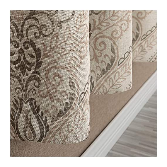 "Medallion Linen Textured Curtains for Living Room 84 Inch Length Drapes Damask Pattern Flax Draperies Window Treatments Room Darkening Sliding Glass Doors for Bedroom Curtain Panels 1 Pair Taupe - 【Simple Design】 Package includes 2 Damask Printed Light Filtering Curtains. Each measures 50""width by 84"" length. 【Style Fashion】Flaunting a large damask print in vivid colors, this beautiful panel pair creates a striking contrast, for a stylish and eye-catching look. 【Light Reducing】Room darkening fabric reduce up to 50% of sunlight, letting you enjoy a serene and comfortable internal environment during any time. - living-room-soft-furnishings, living-room, draperies-curtains-shades - 61dOKFNakyL. SS570  -"