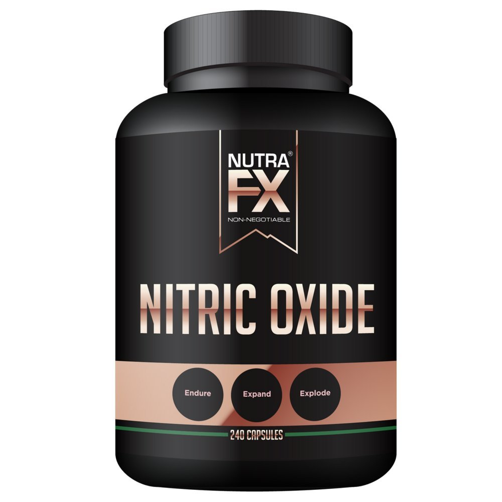 NutraFX Nitric Oxide Booster Supplement with L Arginine, L Citrulline, Beta Alanine and Yohimbine for Muscle Pump Growth, Vascularity and Energy-Extra Strength N.O. Booster-240 Count Veggie Capsules by NUTRAFX