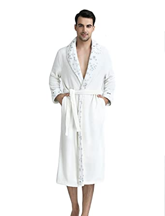 BELLOO Unisex Winter Flannel Fleece Dressing Gown Full Long ... d39e19599