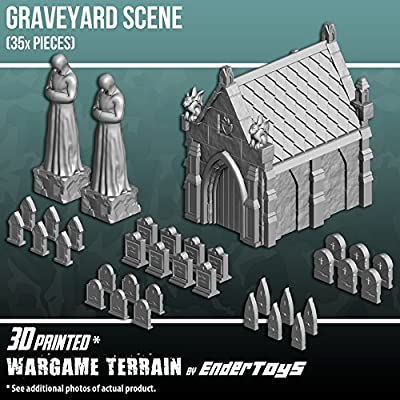 Mausoleum Graveyard Scene, Terrain Scenery for Tabletop 28mm Miniatures Wargame, 3D Printed and Paintable, EnderToys by Seus Corp Ltd