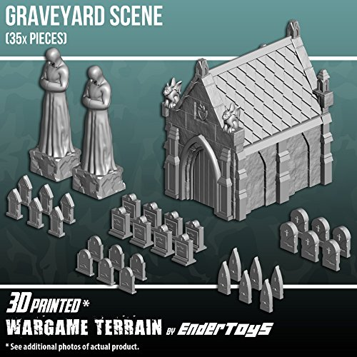 EnderToys Mausoleum Graveyard Scene, Terrain Scenery for Tabletop 28mm Miniatures Wargame, 3D Printed and Paintable by EnderToys