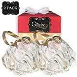 Luxury Bath Pouf Sponge with Gold Ribbon and Comfort Mesh - Set of 2 Pack by Glitzby - Shower Puff Exfoliating / Cleansing Soft Loofah Scrub Luffa Body For Men / Women / Hands, Feet, Hair