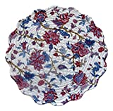 """Unique & Custom {17'' Inch} Single Pack of Round """"Non-Slip Grip Texture"""" Large Reversible Table Placemat Made of Washable 100% Cotton w/ Country Botanical Quilted Design [Colorful White & Red]"""