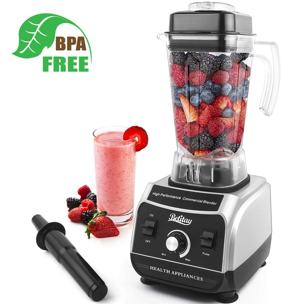 Betitay Professional Countertop Blender, 1500W Commercial Smoothie Maker with Recipe Booklet, Stainless Steel 6-Blade Ice Crusher Grinder & Juicer,Includes 68oz BPA-Free Tritan Pitcher,Tamper, Lid
