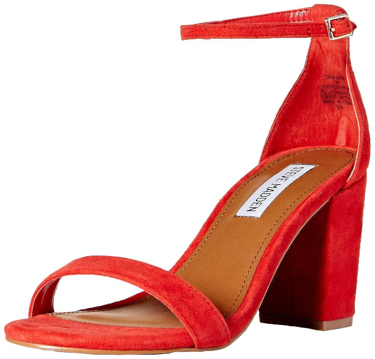 Red Suede Steve Madden Women's Declairw Heeled Sandal