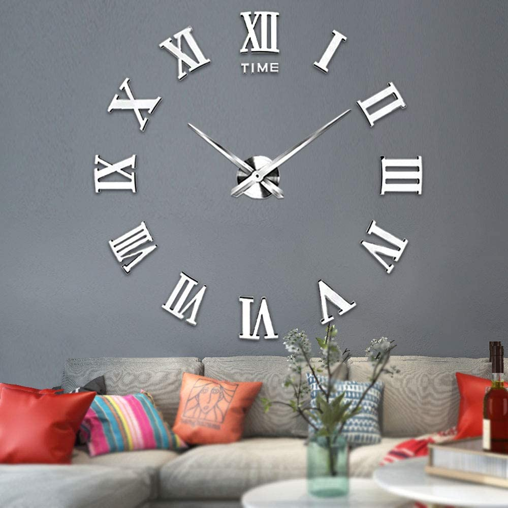 Vangold Large 3D DIY Wall Clock, 2-Year Warranty Roman Numerals Clock Frameless Mirror Surface Wall Clock Home Decor for Living Room Bedroom