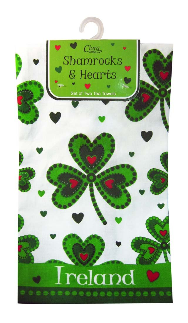 Shamrock And Hearts Designed Set Of Two Tea Towels With Ireland Text Traditional Craft Ltd.