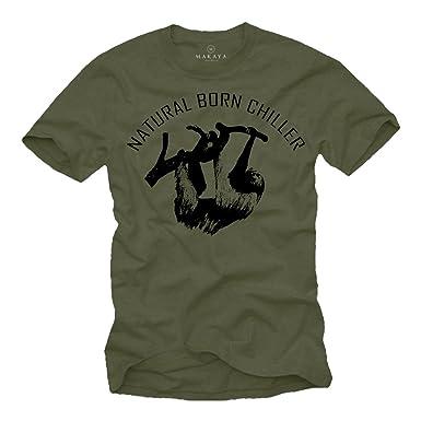 d6ccc5844c807a Cooles T-Shirt für Männer NATURAL BORN CHILLER Aufdruck schwarz Größe S-XXXL   Amazon.de  Bekleidung