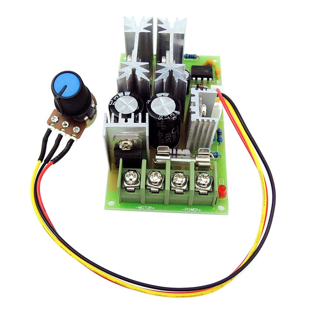 uniquegoods 12V 24V 36V 48VDC 20A 500W (Max) Universal DC Motor Speed Controller PWM Adjustable Speed Driver Module without Switch L0577