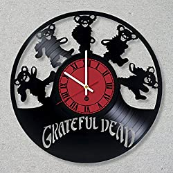 Vinyl Record Wall Clock Grateful Dead Rock Music decor unique gift ideas for friends him her boys girls World Art Design