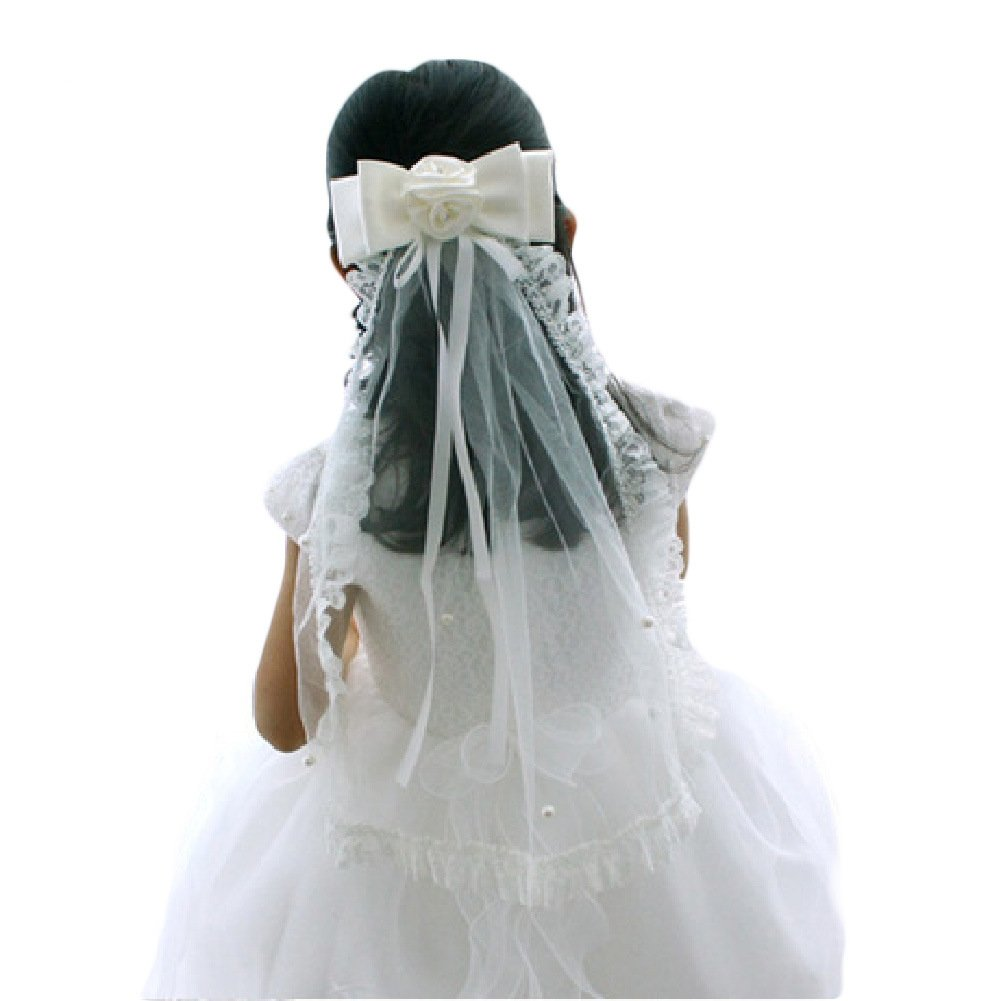 1T Beaded White Girls Bow Wedding Communion Headpiece Veil Hair Accessories GV02