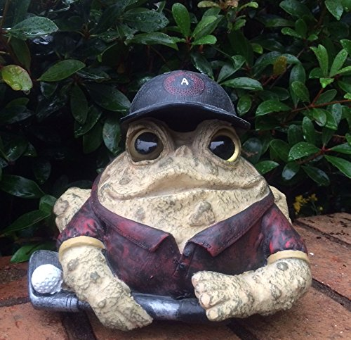 Homestyles Toad Hollow #94064 Figurine Golfer with Golf Club and Ball Sports Character Garden Large Statue Toad Figure Natural Brown - Golf Sport Figure