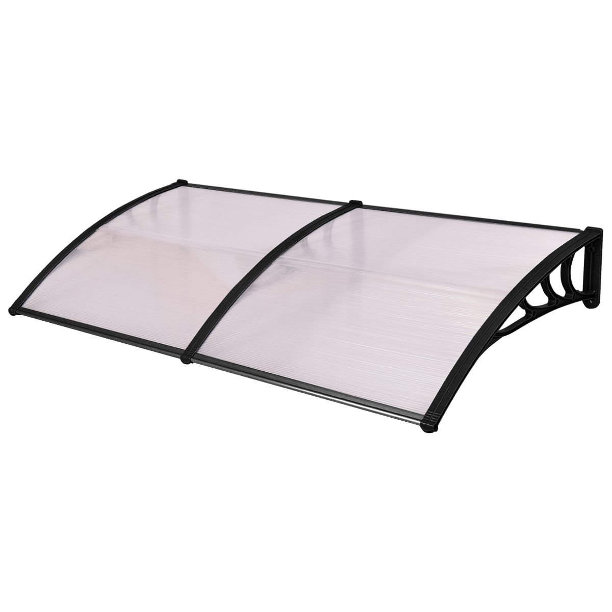 """Tangkula 40""""x 80"""" Window Awning Modern Polycarbonate Cover Front Door Outdoor Patio Canopy Sun shetter 3 Colors (Clear with Black Edge)"""