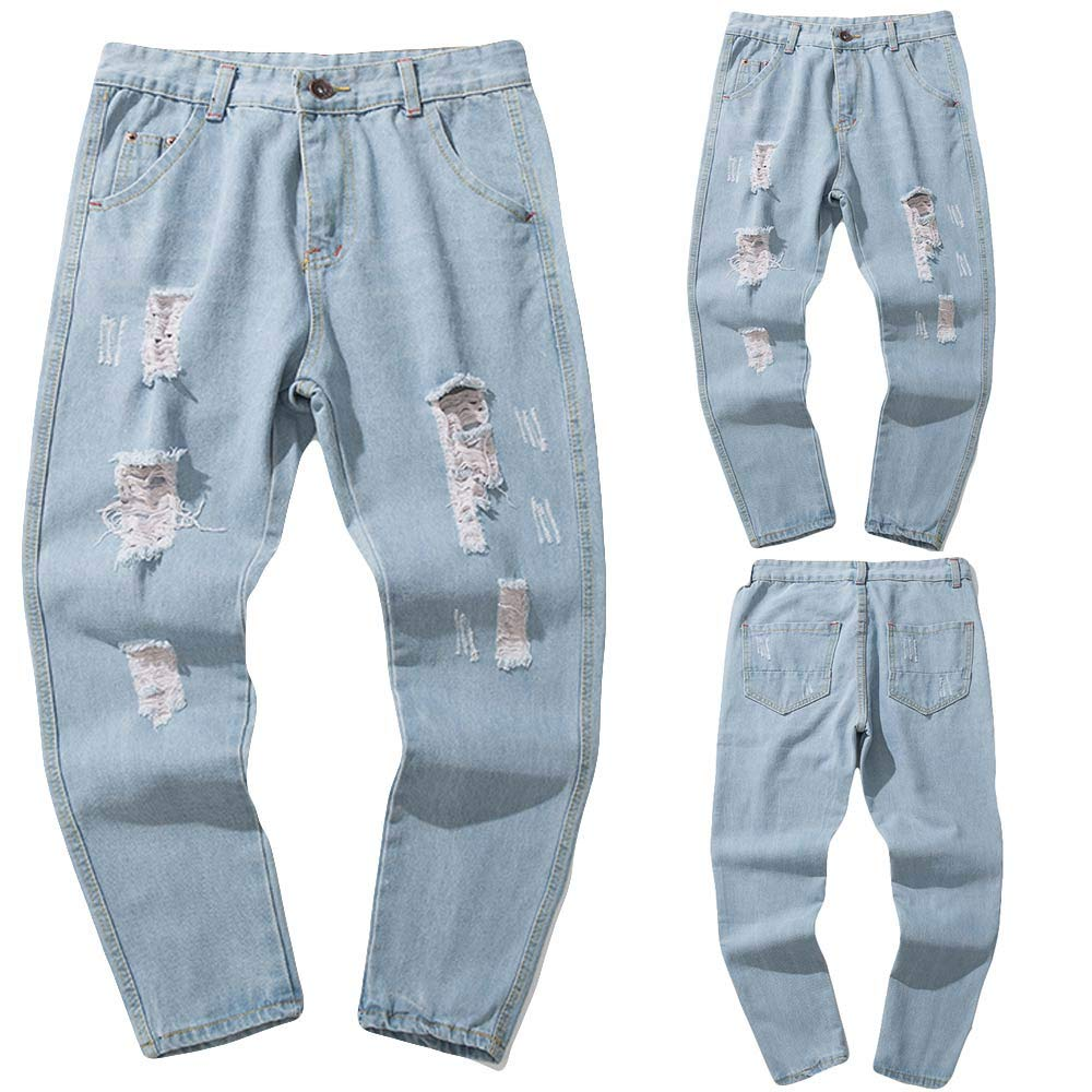 Casual Solid Denim Pants Frayed Ripped Trousers Colmkley Mens Loose Hole Jeans