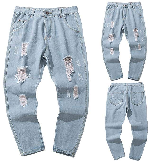 5c66e5052a Cinnamou Pantalones Largos Hombre Pantalones Chinos Pantalones Elasticos  Bermudas Baggy Casual Hippies Transpirable Pantalones De Denim  Amazon.es   Ropa y ...