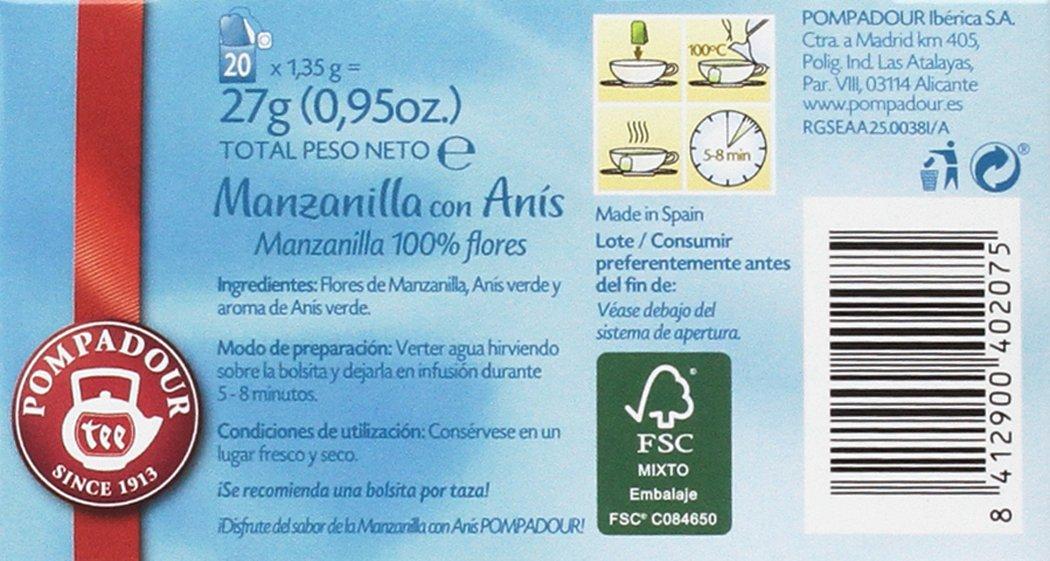 Pompadour Té Infusion Manzanilla con Anís - 20 bolsitas - [Pack de 5]: Amazon.es: Alimentación y bebidas