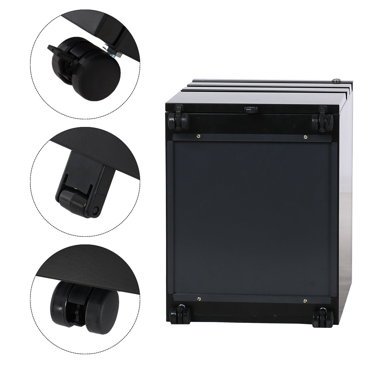 """DEVAISE 3 Drawer Metal File Cabinet with Lock in Black (15.4"""" W x 19.7"""" D x 23.6"""" H)(New Style-Black)"""