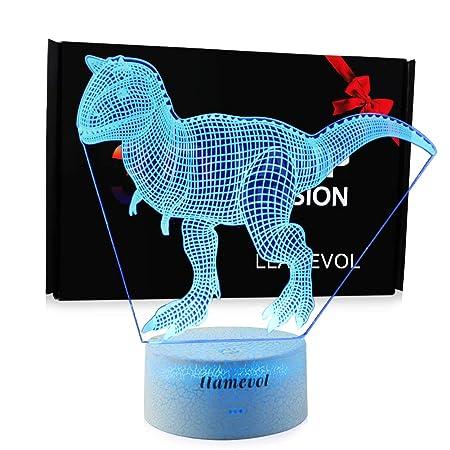 LLAMEVOL Juguete de Dinosaurio 3D Luces de Noche para niños ...