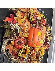 Herfst Pompoen Krans voor Voordeur, met Pompoenen Kunstmatige Maples Zonnebloem Herfst Oogst Vakantie Decor