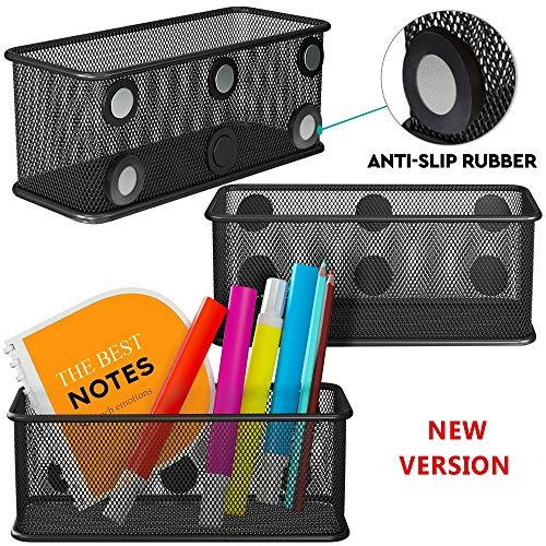 Mesh Magnetic Storage Basket with Anti-Slip Feature and Strong Magnets - Magnetic Locker Organizer and Pencil Holder for Whiteboard and Refrigerator - Set of 3 (Black)