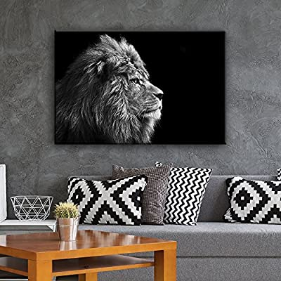 Lion On Black Background - Canvas Art