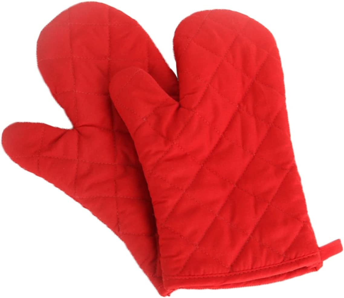Artmoki Oven Mitts Heat Resistant Baking BBQ Set of 2 Oven Gloves Cooking Grilling High Temperature Hand Protection, 11 X 5.9 Inches - Red