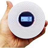 Combination Carbon Monoxide Detector and Smoke Detector, Battery Operated Travel Portable CO Alarm with LCD Digital Display